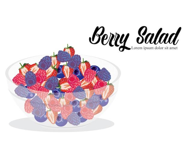 Berry salad isolated white background Premium Vector