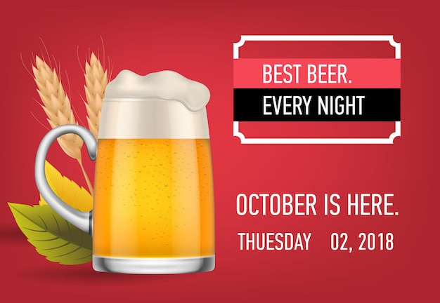 Best beer every night banner design with lager beer Free Vector