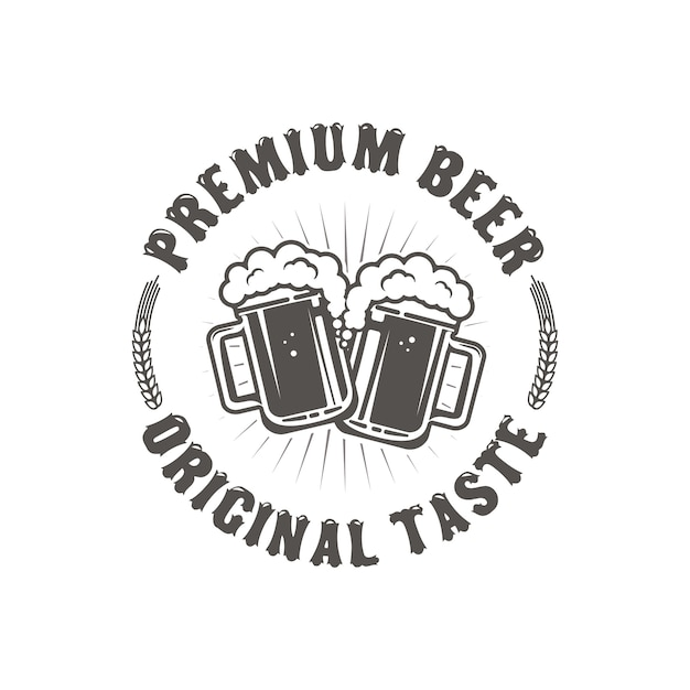 Best beer. vintage craft beer retro design element,  two beer mugs isolated on white background. Premium Vector