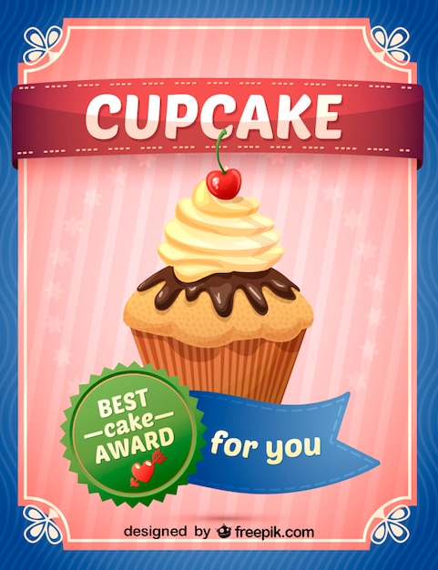 Best cake award sign with a cupcake Free Vector