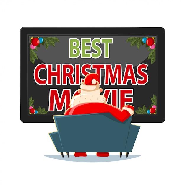 最高のクリスマス映画はベクトル漫画イラストです。テレビを見ながらソファに座っているサンタクロース。 Premiumベクター