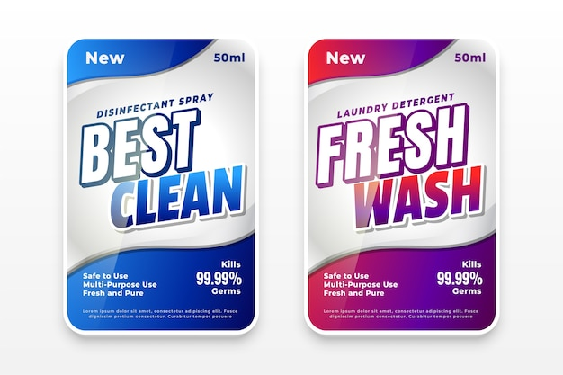 Best clean and fresh wash laundry detergent labels Free Vector