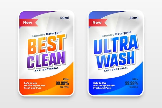 Best clean and ultra wash detergent labels template Free Vector