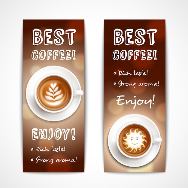 Best coffee art banners Free Vector