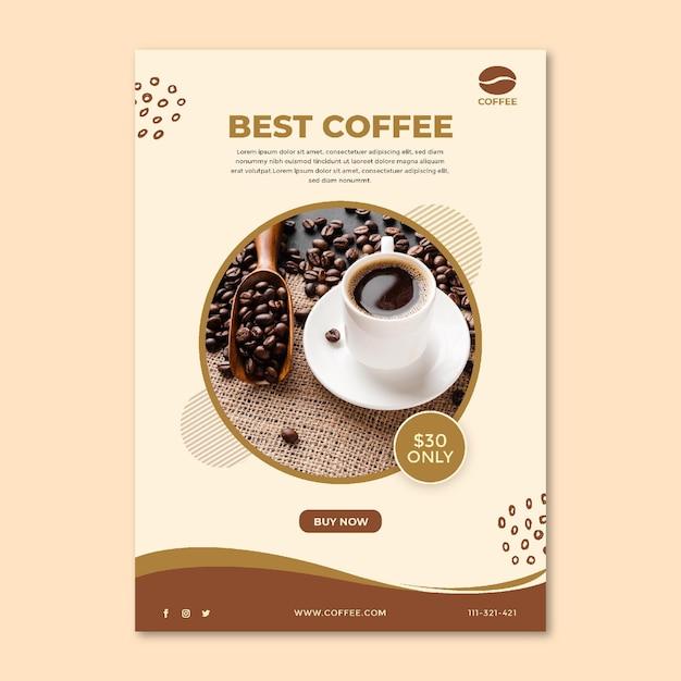 최고의 커피 컵과 콩 전단지 무료 벡터