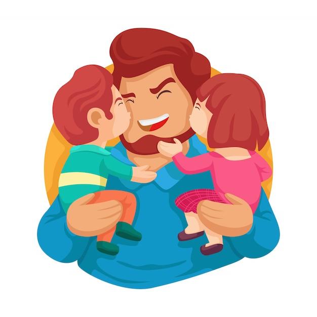 Лучший папа на свете. с днем отца. сын и дочь целуют ее папу векторные иллюстрации Premium векторы