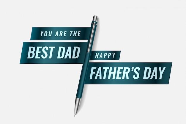 Лучший папа счастливый день отца дизайн баннера с ручкой Бесплатные векторы