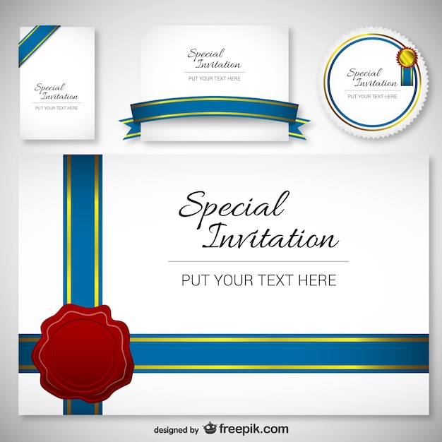 best design invitation card template vector | free download, Invitation templates