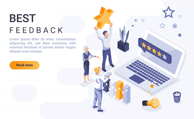 Best feedback landing page banner  with isometric illustration Premium Vector