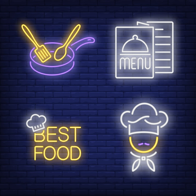 Best food lettering, menu, chef and pan neon signs set Free Vector