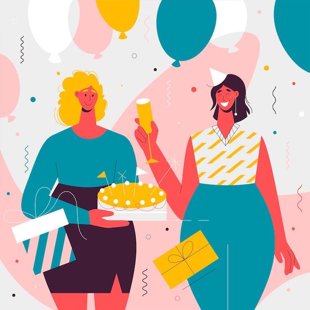 Le migliori amiche festeggiano la festa di compleanno Vettore gratuito