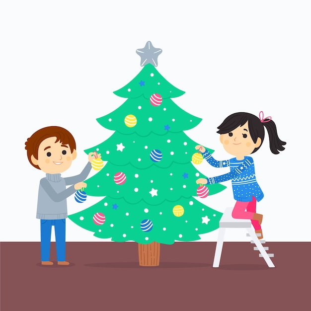 Best friends decorating christmas tree Free Vector