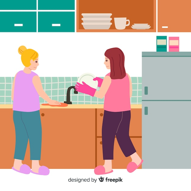 Best friends doing housework together Free Vector