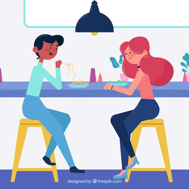 Best friends having lunch in a bar Free Vector