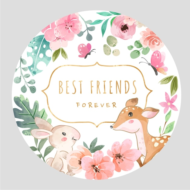 コロフルフラワーとかわいい動物との親友のスローガン Premiumベクター