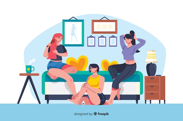 Best friends spending time together illustrated Free Vector