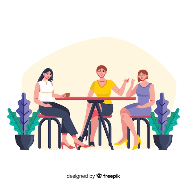 Best friends spending time together Free Vector