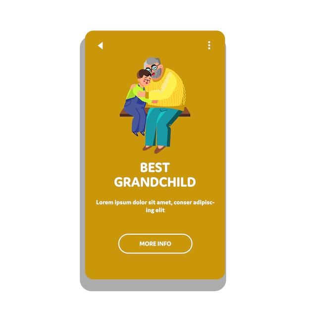 Best grandchild hugging with grandfather Premium Vector