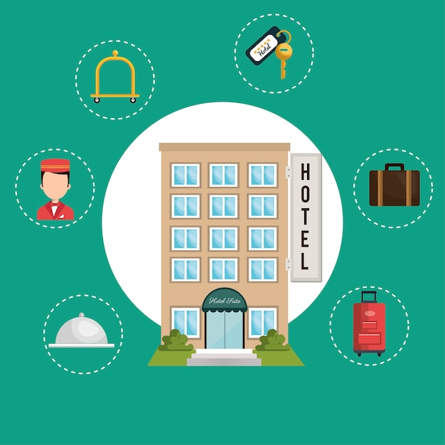 Best hotel set services icons Premium Vector