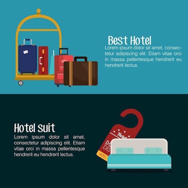 Best hotel set services icons Premium Vector