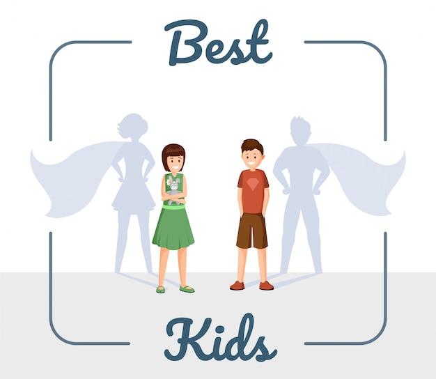 Best kids flat illustration Premium Vector