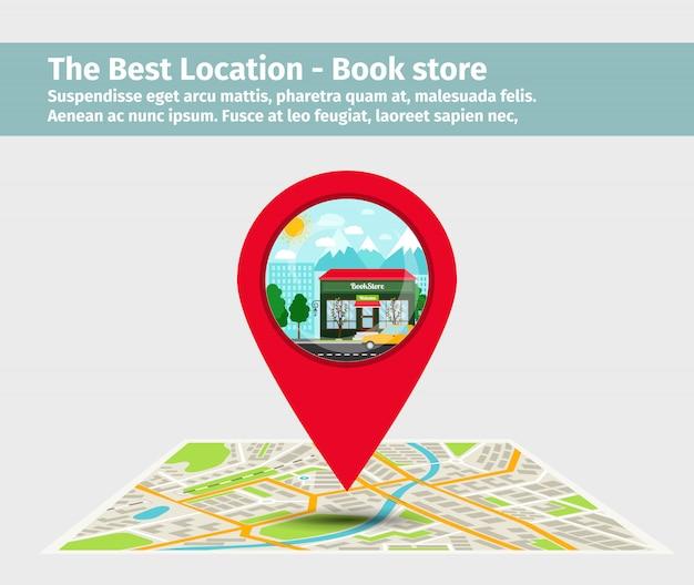 The best location book store Premium Vector