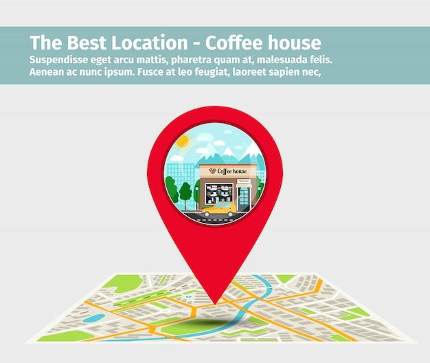 The best location coffee house Premium Vector