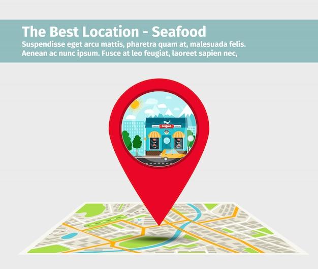 The best location seafood Premium Vector