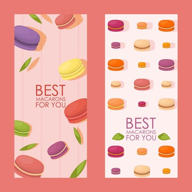Best macarons vertical banner Premium Vector