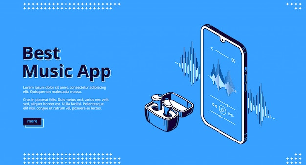 Best music app isometric landing, wireless headset Free Vector