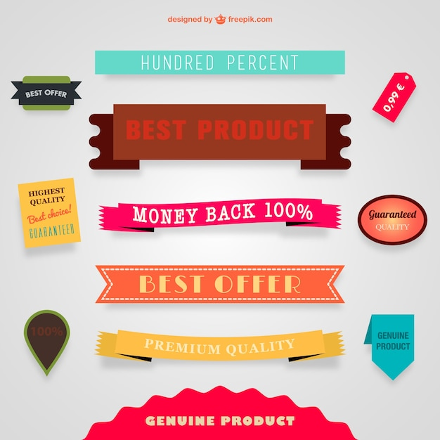 Best offer banners and ribbons Free Vector