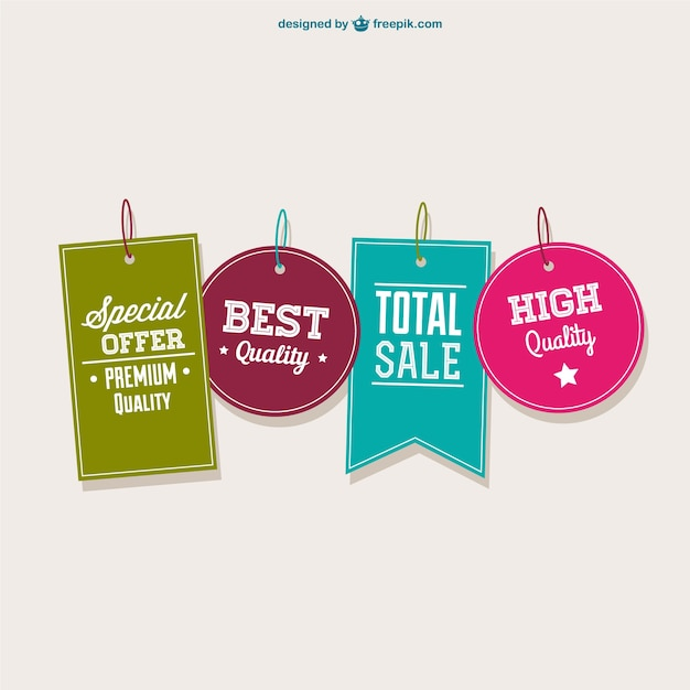 Best offer tags collection Free Vector