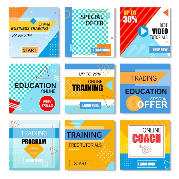 Best offers education, online learning stories set Premium Vector