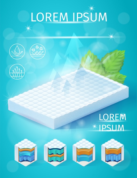 Best orthopedic mattress isometric vector flyer Premium Vector
