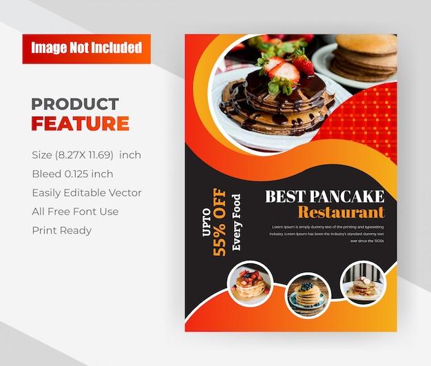 Best pancake restaurant shop.restaurant flyer template. Free Vector