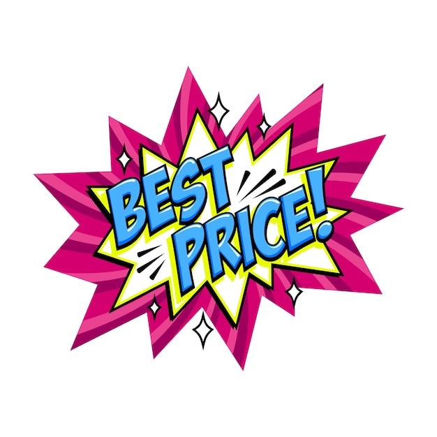 最高の価格コミックピンクセールバンバルーン-ポップアートスタイルの割引プロモーションバナー。 Premiumベクター