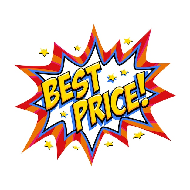 Best price comic red sale bang balloon - pop art style discount promotion banner. Premium Vector