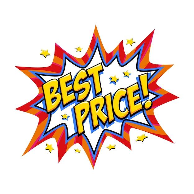 最高の価格コミックレッドセールバンバルーン-ポップアートスタイルの割引プロモーションバナー。 Premiumベクター