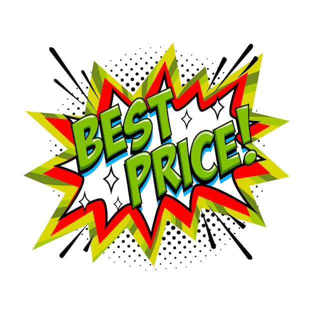 Best price comic sale bang balloon - pop art style discount promotion banner. Premium Vector