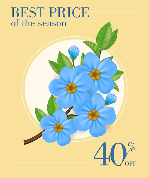 Best price of season, forty percent off poster\ with blue flowers in round frame