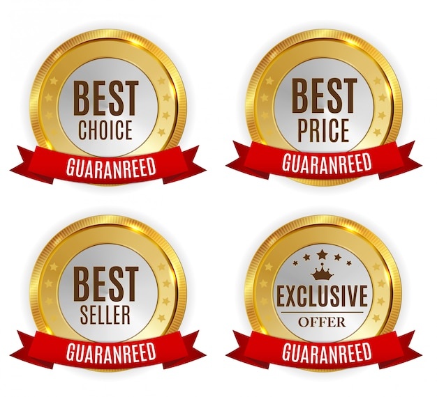 Best price, seller, choice and exclusive offer golden shiny label Premium Vector