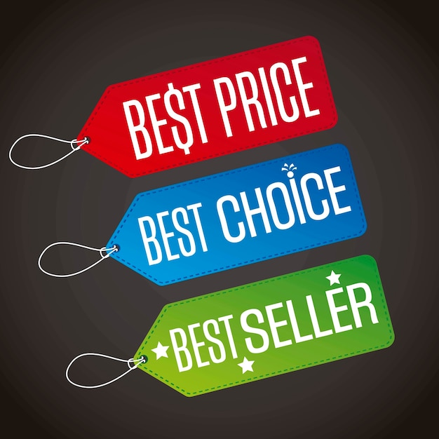Best price with best choice and best seller labels vecor Premium Vector