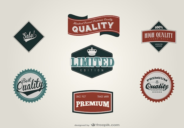 Best quality retro labels Free Vector