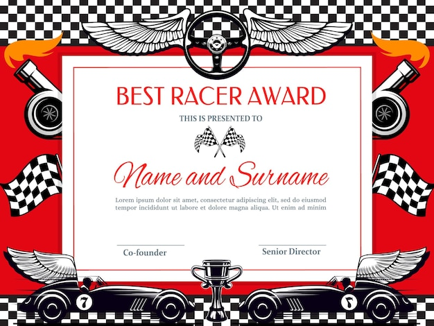 Best racer award diploma. racing winner border with black and white chequered flag, winged car and cup Premium Vector