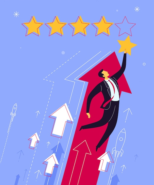 Best rating and evaluation Premium Vector