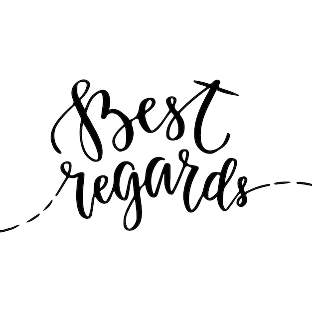 Best regards - vector greeting card with hand lettering. blog icon with brush lettering Premium Vector