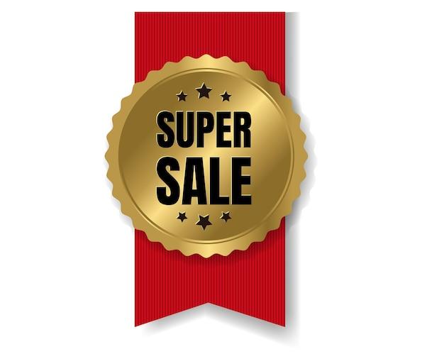 Значок лучшей продажи с лентой и белым фоном с градиентной сеткой, Premium векторы
