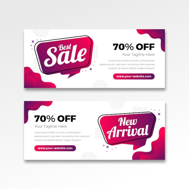 Best sale banner in gradient flat design Premium Vector