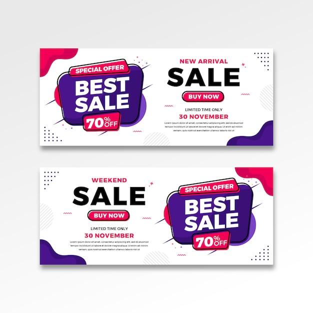 Best sale banner in gradient flat design Premium Vector