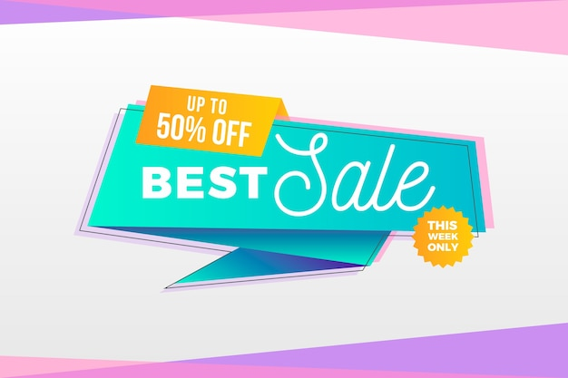 Best sale banner in origami style Free Vector